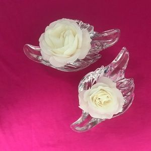 Pair of Gorham crystal dove candlestick holders